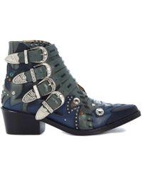 Toga Pulla - Texano In Pelle Verde E Blu Con Fibbie Women's Low Boots In Green - Lyst