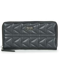 Karl Lagerfeld - K/kuilted Zip Around Wallet Women's Purse Wallet In Black - Lyst