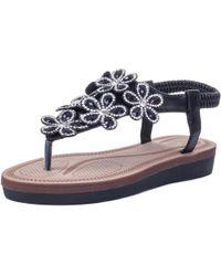 Spylovebuy | Thumbs Up Diamante Toe Post Sling Back Flower Fashion Flat Sand Women's Sandals In Black | Lyst