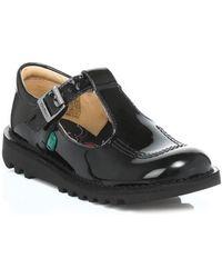 Kickers - Junior Black Kick T Bar Patent Leather Shoes Boys's Children's Shoes (pumps / Plimsolls) In Black - Lyst