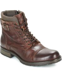 Jack & Jones - Albany Leather Men's Mid Boots In Brown - Lyst