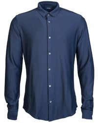 Armani Jeans - Shirt 6y6c09 6nmbz Men's Long Sleeved Shirt In Blue - Lyst