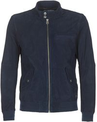 Chevignon - Navy Men's Leather Jacket In Blue - Lyst