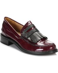 TOWER London - Tower Womens Burgandy Patent Leather Loafers Women's Loafers / Casual Shoes In Red - Lyst