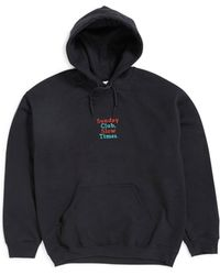 The Idle Man - Sunday Club Slow Times Embroidery Over Head Hoodie Black Men's Sweatshirt In Black - Lyst