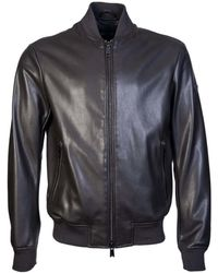 Armani Jeans - Leather Jacket 6y6b50 6eaaz Men's Leather Jacket In Brown - Lyst