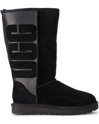 455dd75e5 UGG - Classic Tall Black Leather And Sheepskin Boots Women's High Boots In  Black - Lyst