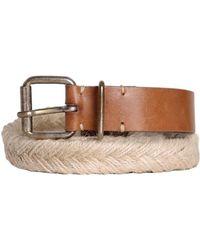 DIESEL - - Leather And Jute Belt Beccabi Women's Belt In Brown - Lyst