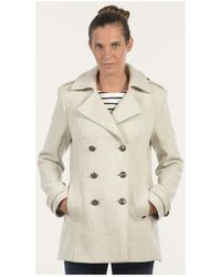 Mat De Misaine - Pea Jacket Florence Off White Women's Coat In White - Lyst