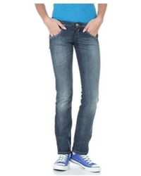 a9a38bba Free People Jeans Rugged Ripped Denim Cropped Boyfriend in True Blue in Blue  - Lyst