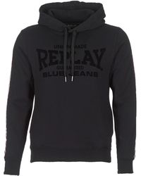 Replay - Side-stripe Flocked Cotton-jersey Hoody - Lyst