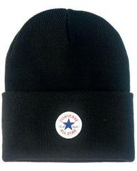 Converse - Tall Cuff Watchcap Knit Beanie - Black Women's Beanie In Black - Lyst