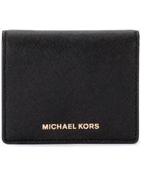 MICHAEL Michael Kors - Black Saffiano Leather Card Holder Women's Purse Wallet In Black - Lyst