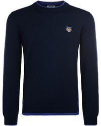 KENZO - Tiger Blue Wool Roundneck Jumper Men's Sweater In Blue - Lyst