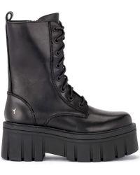 Windsor Smith - Anfibio Stomp In Pella Nera Con Maxi Platform Women's Mid Boots In Black - Lyst