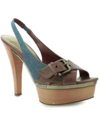 Guess - Sutzy Sling Back Cublu Leather Women's Sandals In Blue - Lyst