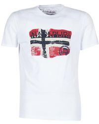 Napapijri - Saleny Men's T Shirt In White - Lyst