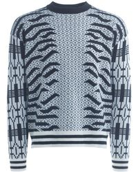 KENZO - Black And White Roundneck Jumper Men's Sweater In White - Lyst