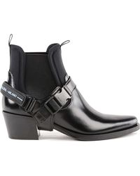 Prada - Leather And Neoprene Ankle Boots - Lyst
