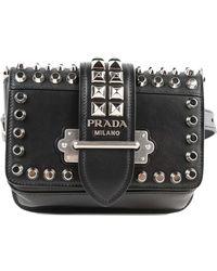 fbd0e4a52701c Lyst - Prada Glace Calf Cahier Belt Bag in Black