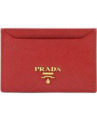 edaa90b9e36379 Prada Saffiano Metal Oro Wallet with Chain in Natural - Lyst