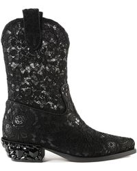 Dolce & Gabbana - Lace +gros Texan Boots - Lyst