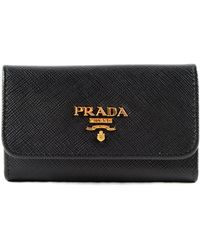 Prada - Key Case Saffiano Metal Oro - Lyst