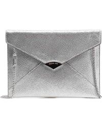 28ccd30441ed Lyst - Michael Kors Barbara Black Patent Envelope Clutch Bag in Black