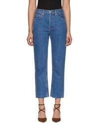 RE/DONE - Blue Originals High-rise Stove Pipe Jeans - Lyst