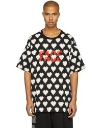 Facetasm - Black Oversized Heart Face T-shirt - Lyst