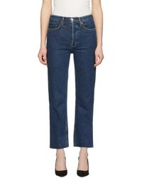 RE/DONE - Blue Comfort Stretch High-rise Stove Pipe Jeans - Lyst