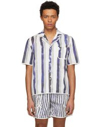 Daniel W. Fletcher - White And Blue Bold Stripe Pyjama Shirt - Lyst