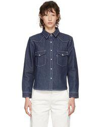 Levi's - Ssense Exclusive Indigo Western Shrunken Shirt - Lyst