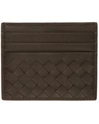 Bottega Veneta - Brown Intrecciato Card Holder - Lyst