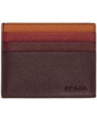 Prada - Brown Colorblocked Saffiano Card Holder - Lyst