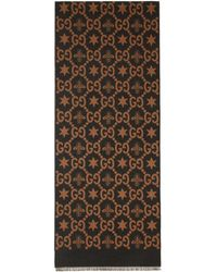 Gucci - Brown And Grey Jacquard Bees And Stars GG Scarf - Lyst