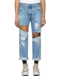 R13 - Blue Sid Straight Jeg Ripped Jeans - Lyst