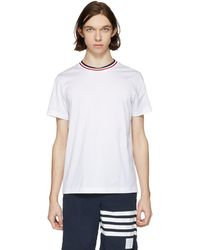 Moncler - White Tricolor Collar T-shirt - Lyst