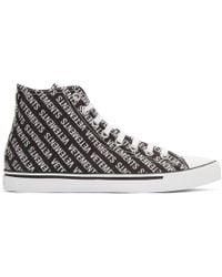 Vetements - Black And White Printed Logo High-top Sneakers - Lyst