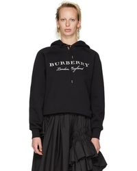 Burberry - Black Embroidered London, England Hoodie - Lyst