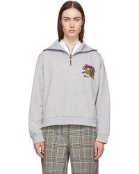 107a44d1 KENZO - Grey Bamboo Tiger Zip Sweatshirt - Lyst