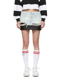 Alexander Wang - Blue Denim And Leather Hybrid Miniskirt - Lyst