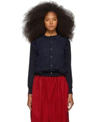 Comme des Garçons - Navy Wool Georgette Cardigan - Lyst