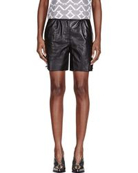 Maiyet - Black Leather Straight Shorts - Lyst