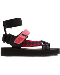Prada - Canvas, Rubber And Leather Sandals - Lyst