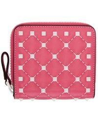 Valentino - Pink Garavani Free Spike Wallet - Lyst