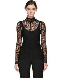 Givenchy - Black Lace Mock Neck Blouse - Lyst