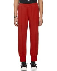 Alexander McQueen - Red Crepe Sport Lounge Trousers - Lyst