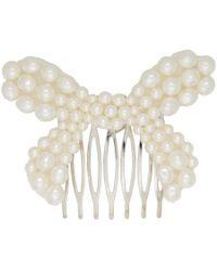 Simone Rocha - White Pearl Small Bow Hair Clip - Lyst