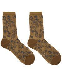 Y's Yohji Yamamoto - Brown See-through Flower Socks - Lyst